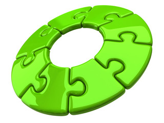 Illustration of jigsaw puzzle green wheel