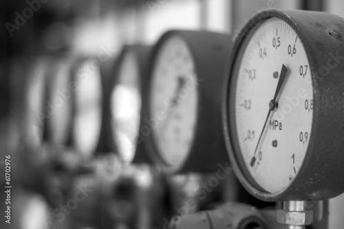 Leinwanddruck Bild Manometers in the boiler