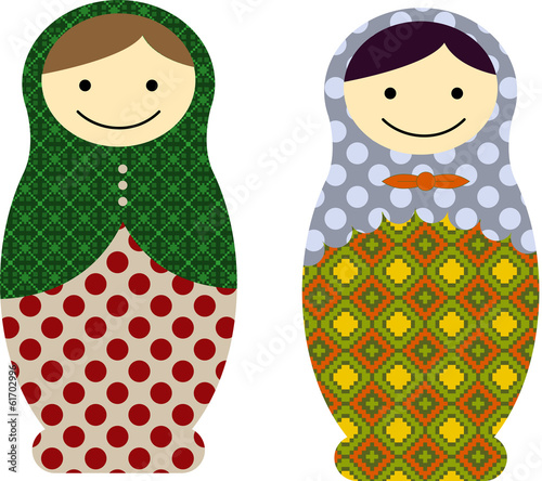 Vector illustration of matryoshka russian dolls
