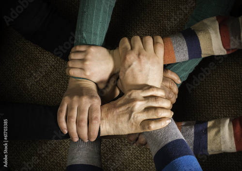 canvas print picture Many hands together