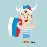illustration at the Olympic Games Russian fan holding a flag