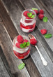 Delicious dessert  with fresh raspberry and mint