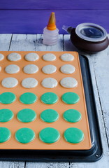 Preparing of raw Macaron before baking