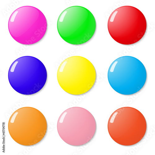 Magnets, buttons color on a white background.