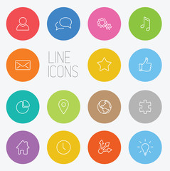 Modern circle thin line icon set