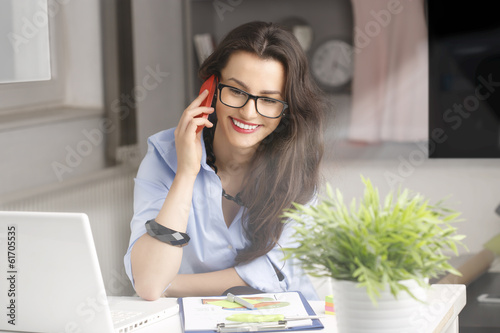 Close-up portrait of young beautiful businesswoman
