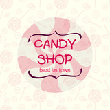 Seamless pattern with cartoon lollipops and candies