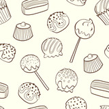 Seamless pattern with cartoon chocolate candies