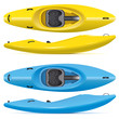 river running kayaks in yellow and blue colors