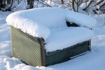 Sofa in the snow.