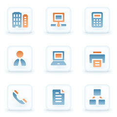 Office web icons, white glossy buttons