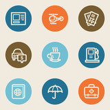 Travel web icon set 4, color circle buttons