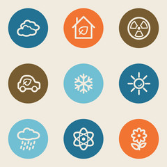 Ecology web icon set 2, color circle buttons