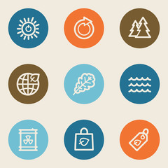 Ecology web icon set 3, color circle buttons