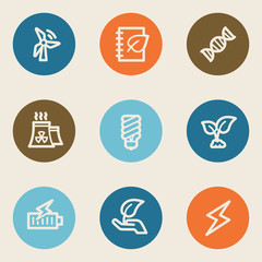 Ecology web icon set 5, color circle buttons