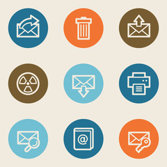 Email web icon set 2, color circle buttons