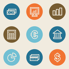 Finance web icon set 1, color circle buttons