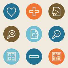 Image viewer web icon set 1, color circle buttons