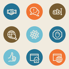 Internet web icon set 1, color circle buttons