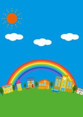 シンプルな街並と虹 縦