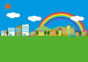 シンプルな街並と虹