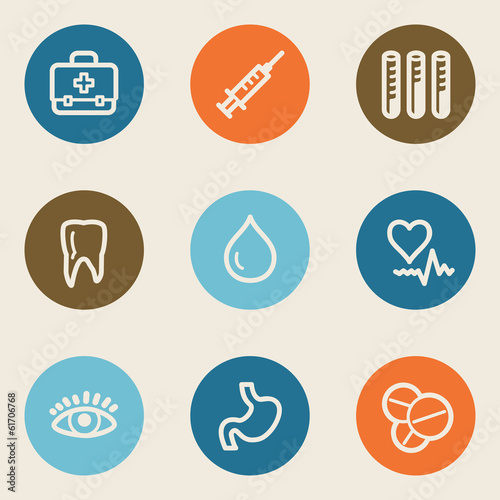 Medicine web icon set 1 , color circle buttons