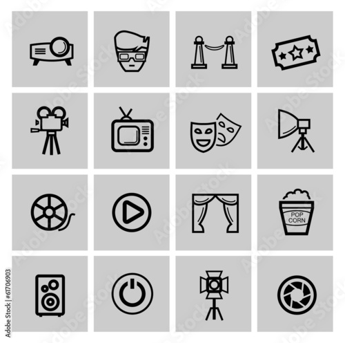 vector black movie icon set