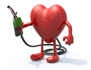 heart with arms, legs and fuel pump in hand