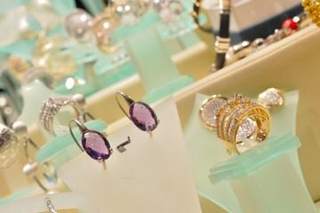 Luxurious woman jewellery in the shop-window