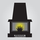 simple fireplace icon eps10
