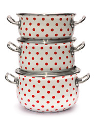 Three Saucepans with Red Dots isolated on white