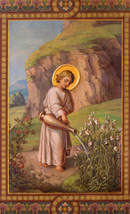 Vienna - Fresco of little Jesus as gardener in Carmelites church