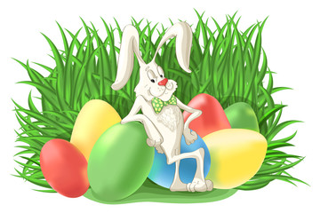 Funny bunny rabbit with colorful Easter eggs