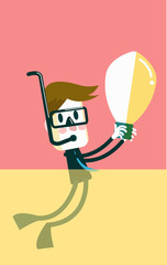 Businessman discover idea bulb from the ocean. Vector