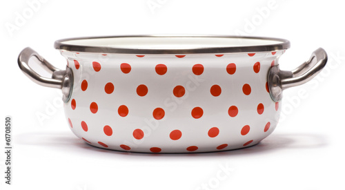 Saucepan with Red Dots isolated on white