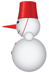 Snowman with red bucket
