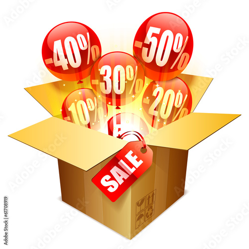 Cardboard box with sale tag and balloons.