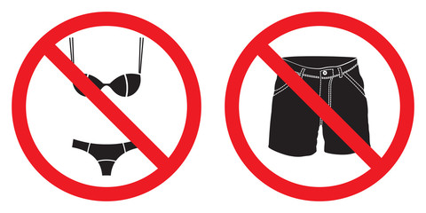 No short pants sign, no swimsuit sign