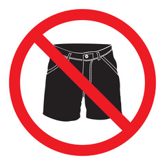 No short pants sign