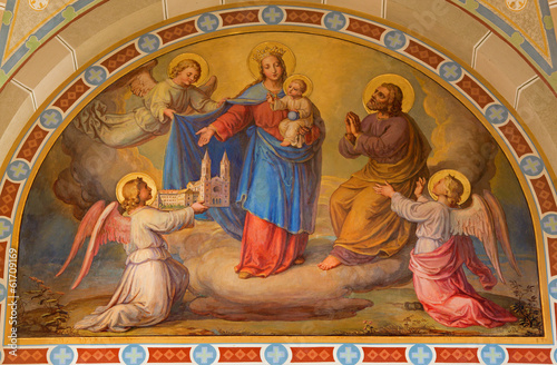 Vienna - Fresco of Madonna in the heaven in Carmelites church