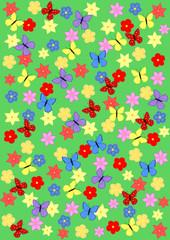 Hintergrund Blumenwiese mit Schmetterlingen