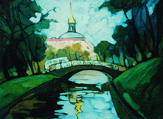 landscape with channel and bridge in saint petersburg, painting