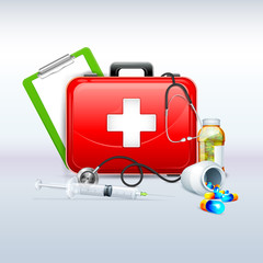 illustration of first aid box with capsule and stethoscope