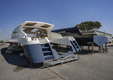 Italy, Fiumicino (Rome), luxury yacht under construction