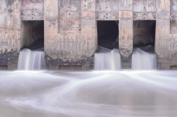 Long Exposure waterfall from drainpipe