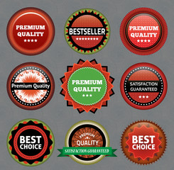 Collection of Premium Quality and Guarantee Labels.