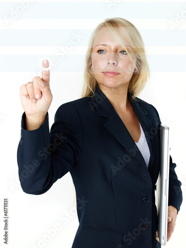 Business woman starts button