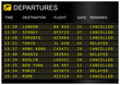 Flights departures board isolated on white background - 61711349