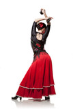 young woman dancing flamenco with castanets isolated on white