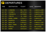 Flights departures board isolated on white background